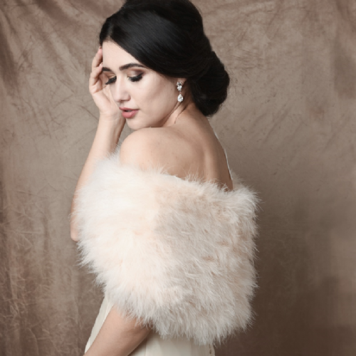 ivory marabou feather bridal shrug, feather wedding wrap